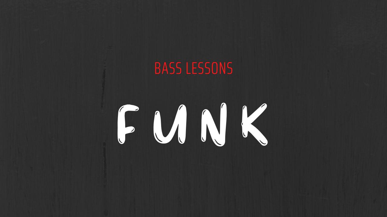 Scritta bass lessons in rosso e funk in bianco su sfondo grigio scuro