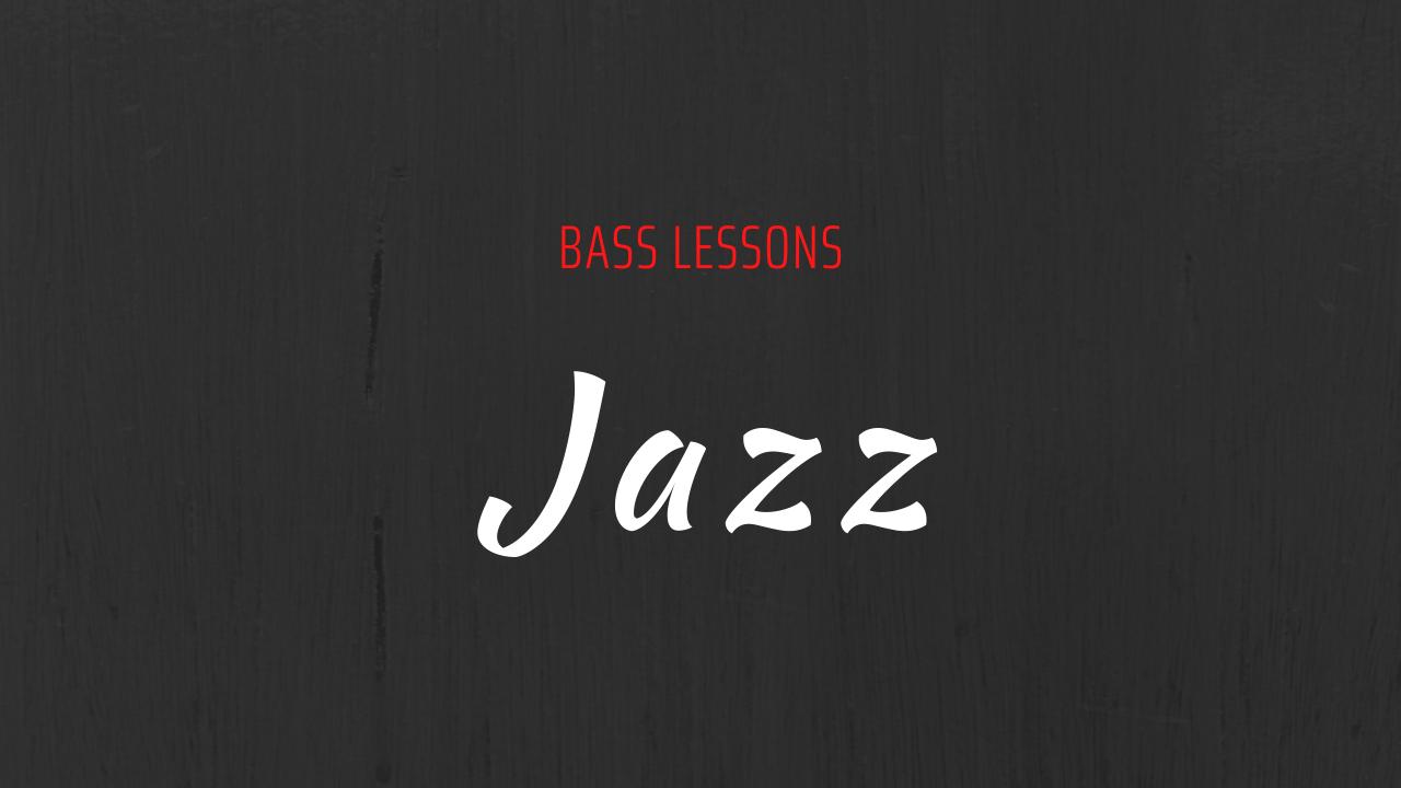 Scritta bass lessons in rosso e jazz in bianco su sfondo grigio scuro